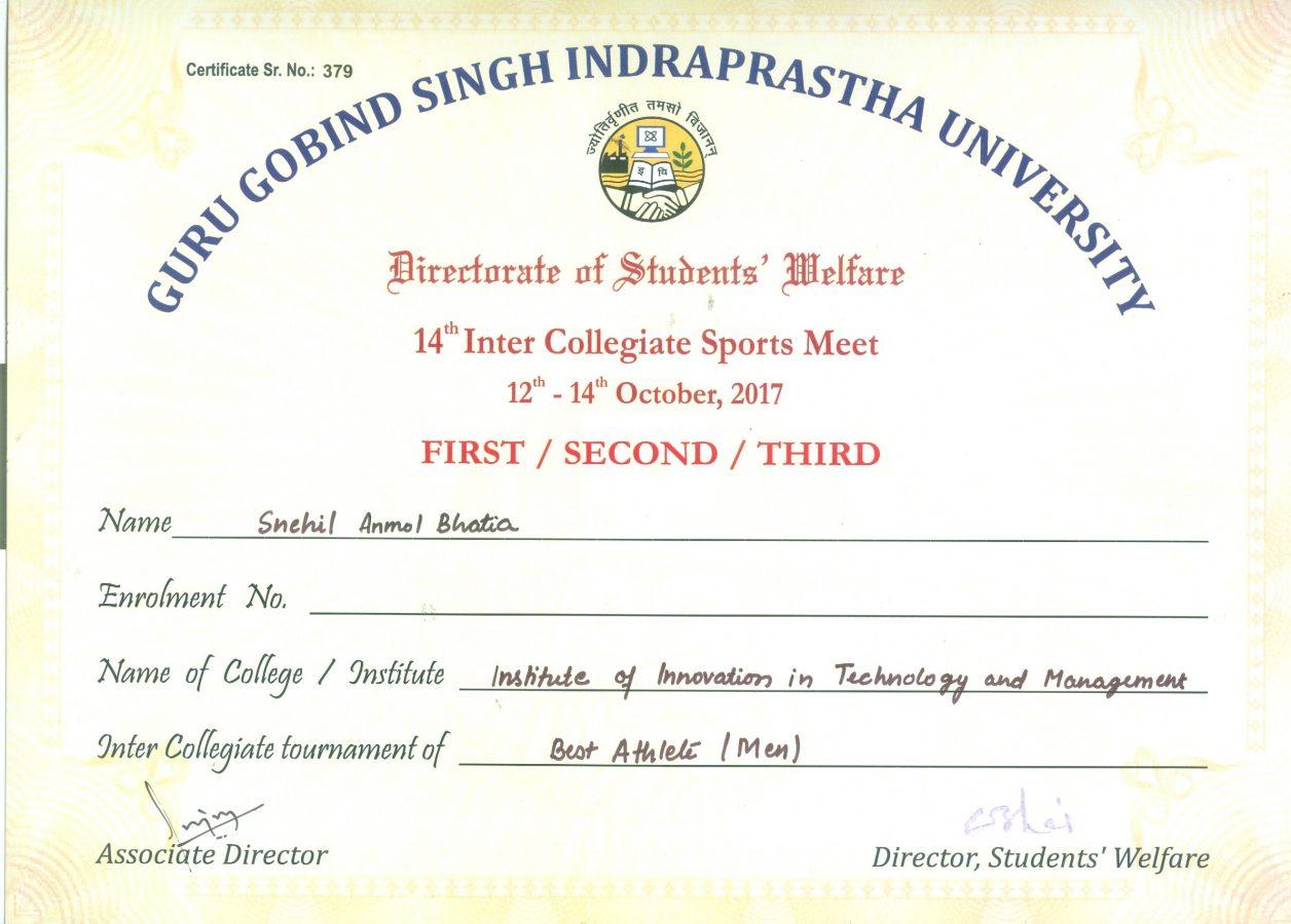 Best Athlete GGSIPU Sports Meet IITM Janakpuri Delhi www.iitmjp.ac.in