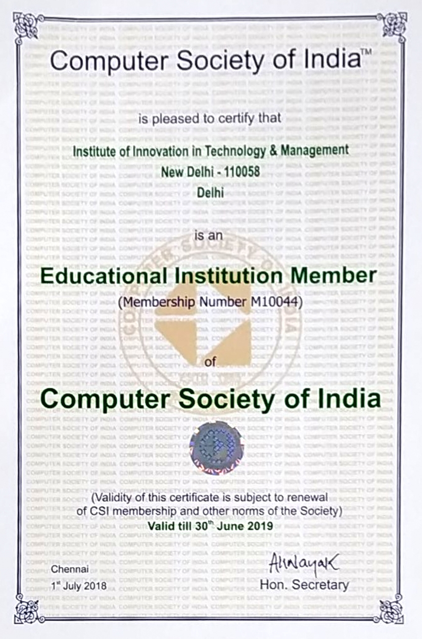 Computer Society of India CSI Membership IITM Janakpuri New Delhi Top Best College Institute GGSIPU www.iitmjp.ac.in