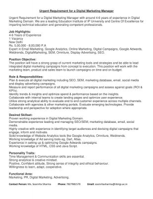 Digital Marketing Post at IITM Janakpuri Delhi
